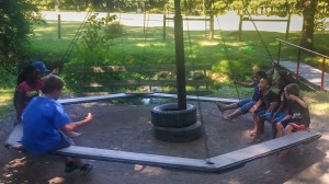 Merry-go-round swing at Annual Church Picnic – July 2016